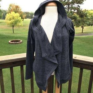 Athleta Hoodie Cardigan Jacket XS Gray Space Dye